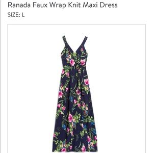 NWT Le Lis Ranada Faux Wrap Knit Maxi Dress